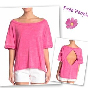 Free People Viola Open Back Top Magenta XS NWT